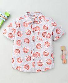 Bee Bee Smart Printed Shirt - Grey & Red