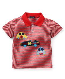 Great Babies 3 Cars Print Polo Neck T-Shirt - Red