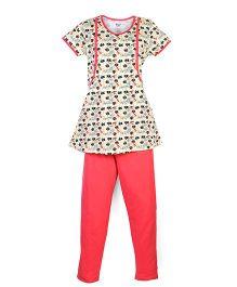 Kriti Floral Print Maternity Night Wear Tunic Top And Leggings - Cream Peach