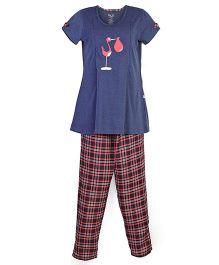 Kriti Maternity Night Wear Tunic Top And Pajama - Navy Black Red