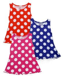 Simply Sleeveless Frock Polka Dots Pack Of 3 - Pink Red Blue