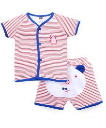 Simply Short Sleeves Front Open T-Shirt & Shorts Stripes Print - Blue & Red