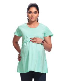 Kriti Short Sleeves Maternity Top - Sea Green
