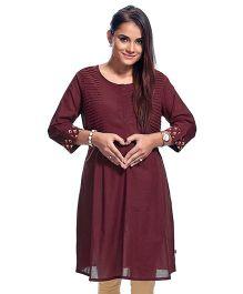 Kriti Maternity Nursing Kurti Printed - Maroon