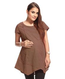 Kriti Short Sleeves Maternity Chevron Kurti - Maroon