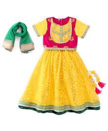 Sorbet Lehenga Set With Dupatta & Lace - Yellow