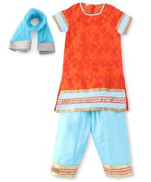 Sorbet Salwar Kurta Set With Lace & Dupatta - Orange