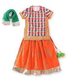 Sorbet Lehenga Choli Set - Orange