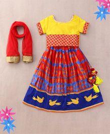 Sorbet Lehenga Choli Set With Bird Design Embroidery - Red