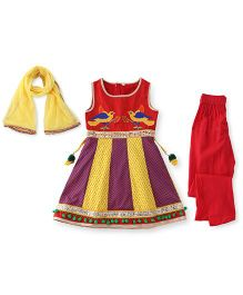 Sorbet Anarkali Suit With Embroidery - Red