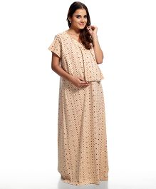 Kriti Short Sleeves Printed Maternity Nursing Nighty - Beige