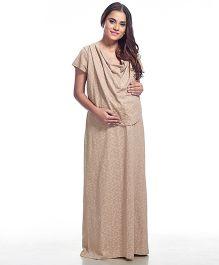 Kriti Short Sleeves Printed Maternity Nighty - Dark Grey