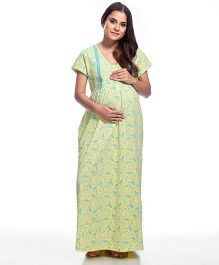 Kriti Half Sleeves  Printed Maternity Nursing Nighty - Yellow