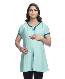 Kriti Half Sleeves Printed Maternity Kurta - Sea Green