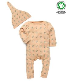 Ecoelate Authentic Organic Cotton Herbal Dyed Jumpsuit With Cap - Cream
