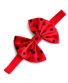 Little Miss Cuttie Polka Dot Bow Headband - Red