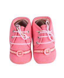 Beebop Lace Tie Booties - Pink