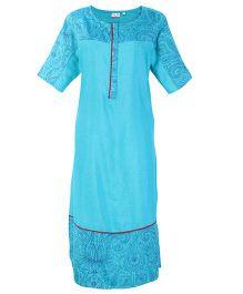 Kriti Half Sleeves Maternity Printed Kurta - Blue