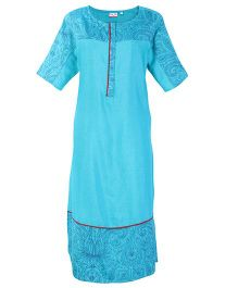 Kriti Half Sleeves Maternity Printed Kurta - Blue
