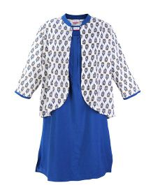 Kriti Sleeveless Kurta With Printed Jacket - Indigo Blue