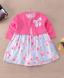 Mon Caramel Floral Print Dress With Shrug - Pink & Blue