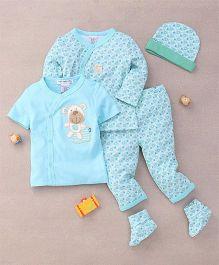Mon Caramel 4 Piece Baby Suit - Blue & Green