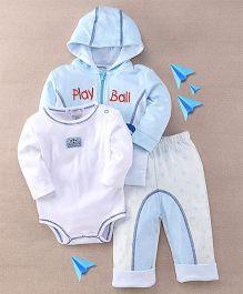 Mon Caramel Hooded Romper Onesie & Pant Set - Blue