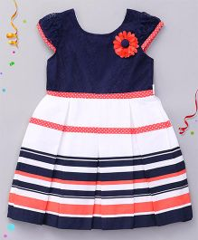 Babyhug Short Sleeves Frock Flower Applique - Navy White
