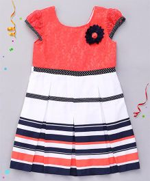 Babyhug Short Sleeves Frock Flower Applique - Coral White