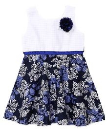 Babyhug Sleeveless Floral Print Frock With Applique - Navy White