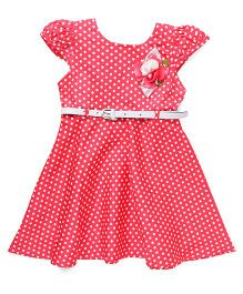 Babyhug Cap Sleeves Dotted Frock With Floral Corsage And Belt - Coral White