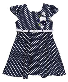 Babyhug Cap Sleeves Dotted Frock With Floral Corsage And Belt - Navy White