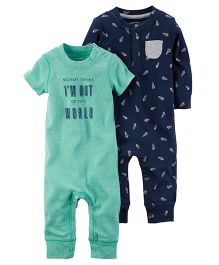 Carter's 2-Pack Babysoft Coveralls - Green Navy