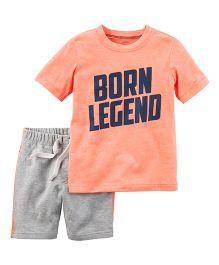 Carter's Half Sleeves Born Legend Print T-Shirt And Shorts Set - Peach Grey