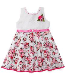 Babyhug Sleeveless Frock Floral Appliques - White Pink