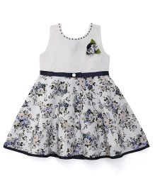 Babyhug Sleeveless Frock Floral Appliques - White Navy