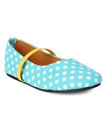 Bee Bee Polka Dot Print Baby Shoes - Aqua Blue