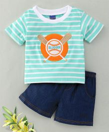 Happy Life Slugger Print Shorts & Tee Set - Green & Blue