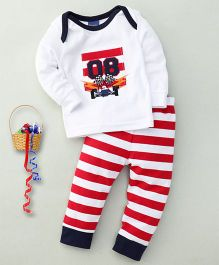 Happy Life 08 Print Top & Pant Set - White & Red