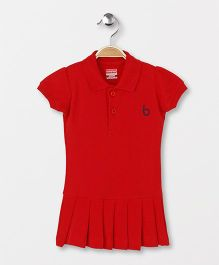 Babyhug Short Sleeves Tennis Frock - Red