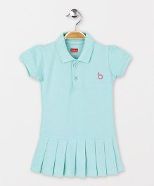 Babyhug Short Sleeves Tennis Frock - Aqua