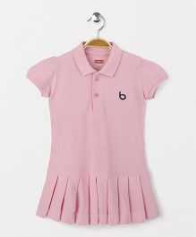 Babyhug Short Sleeves Tennis Frock - Pink