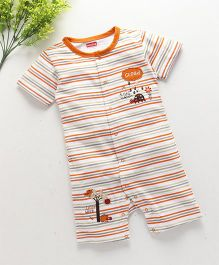Babyhug Short Sleeves Romper Stripes Print With Patch - Orange & White