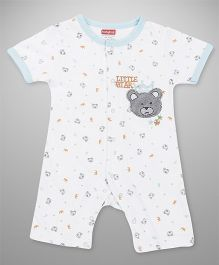 Babyhug Half Sleeves Romper Bear Embroidery - White Aqua Blue