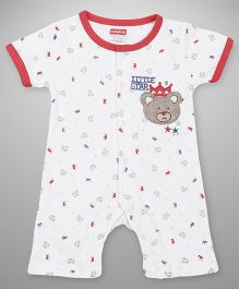 Babyhug Half Sleeves Romper Bear Embroidery - White Red
