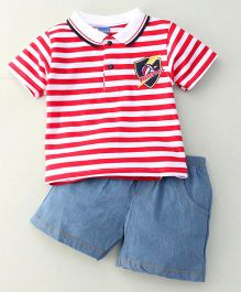 Happy Life Volleyball Print Tee & Pant Set - Red & Blue