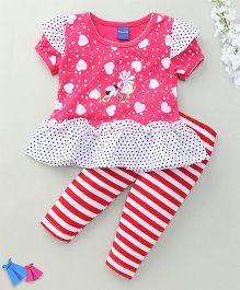 Happy Life Lady Bug Print Dress & Leggings Set - Pink