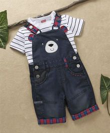 Babyhug Denim Dungaree With Striped T-Shirt - Black White