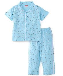 Babyhug Half Sleeves Night Suit Teddy Print - Blue