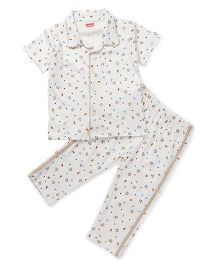 Babyhug Half Sleeves Night Suit Teddy Print - Cream